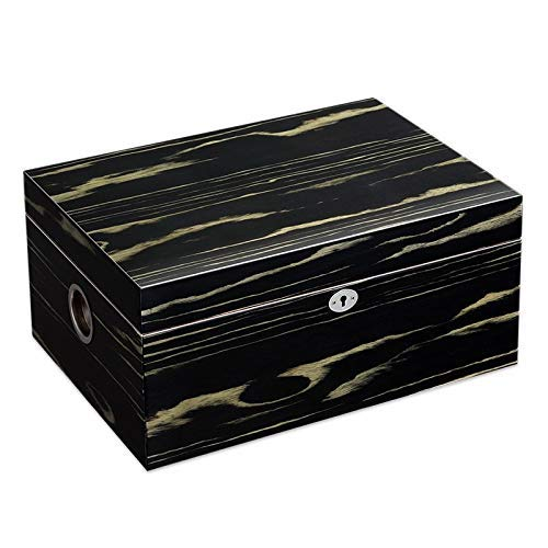 Ac498 Portable Cigar Box Cigar Box, Large Capacity Can Hold 100 Cigars, Cedar Wood Lining with Hygrometer and Humidifier, Cigar Cabinet Cuban Solid Wood Box, Men's Gift Box Cigarette Case by Ac498 (Image #4)