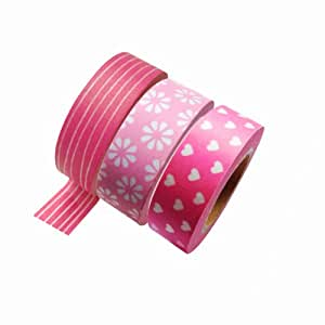 Dress My Cupcake DMC29204 Washi Decorative Tape for Gifts and Favors, Pink Collection, Set of 3