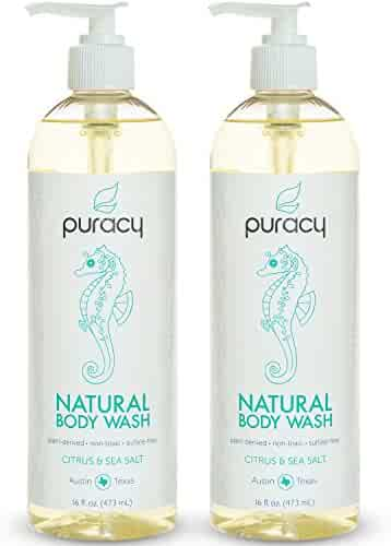 Puracy Natural Body Wash, Sulfate-Free Bath and Shower Gel, Citrus and Sea Salt, 16 Ounce Pump Bottle, (Pack of 2)