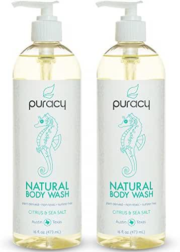 Puracy Natural Body Wash, Sulfate-Free Shower Gel and Daily Cleanser, Citrus and Sea Salt, 16 Ounce Bottle, (Pack of 2)