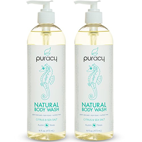 Price comparison product image Puracy Natural Body Wash, Sulfate-Free Shower Gel and Daily Cleanser, Citrus and Sea Salt, 16 Ounce Bottle, (Pack of 2)