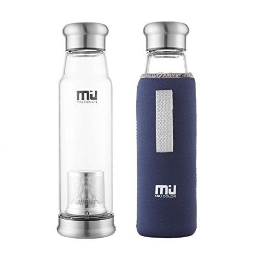 MIU COLOR® Stilvolle Tragbare 700ml Glasflasche Größere Kapazität Trinkflasche - Nylon Tasche für Auto (mit Teesieb, dunkelblau)