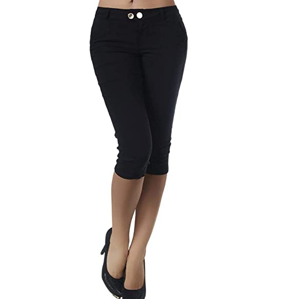 34-42 D-all Damen Capri 3//4 Jeans Shorts Bemuda Kurze Hüft Stretch Hose Gr