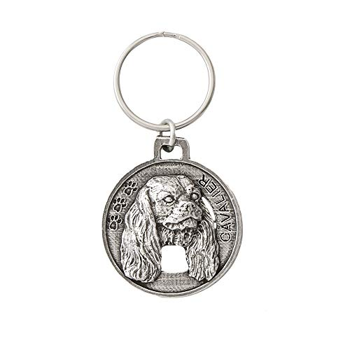 Cavalier King Charles Dog Pewter Key Chain Key Fob Key Ring Gift, D044KC - Charles Cavalier Magnet King