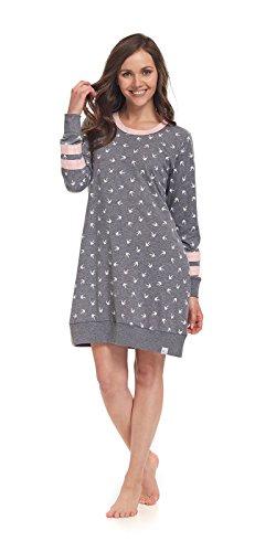Notte Da Donna rosa Camicia nightwear Dn Grigio qt8RS