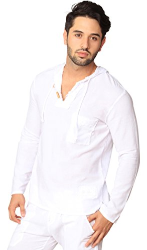 INGEAR Men's White Cotton Shirt Button Down Casual Lightweight Short Sleeve Beach (White Hoodie, (Tuscany Natural)