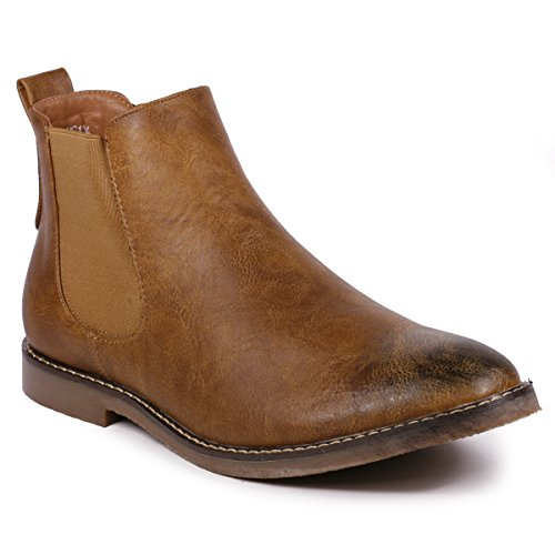 Metrocharm MC124 Men's Formal Dress Casual Ankle Chelsea Boot (13, Tan) by Metrocharm