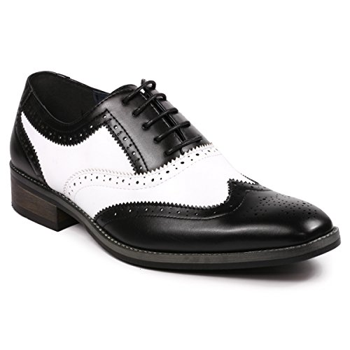 Metrocharm MC118 Men's Two Tone Perforated Wing Tip Lace Up Oxford Dress Shoes (10.5, Black White) ()