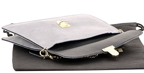 Ladies Primo Clip Handbag Italian Bag or Leather Light Push 2 Suede Sacchi Grey Crossbody Shoulder Wrist Bag 88wFI