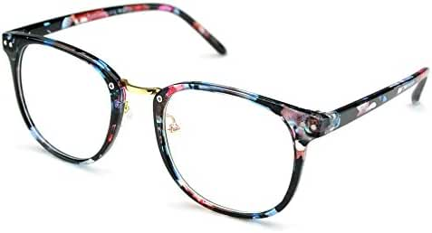 PenSee Womens Fashion Oversized Clear Lens Round Circle Eye Glasses