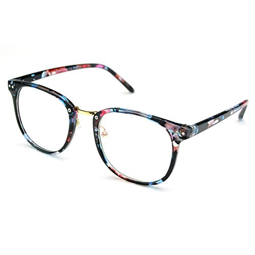 PenSee Womens Fashion Oversized Clear Lens Round Circle Eye Glasses (Blue Flower(Plastic - Mujer Lentes De