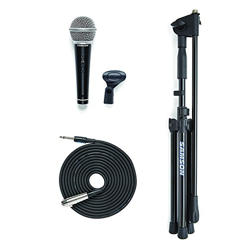 Samson VP10 Vocal Microphone, Boom Stand and 1/4″ to XLR cable Value Pack ()