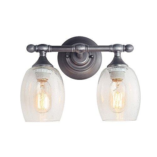 Log Barn Wall Light, Bathroom Vanity Sconces with Bubble Clear Glass Cover, E26 Ceramic Lamp Holder, 2-Light Mini Pendant Light, A03353