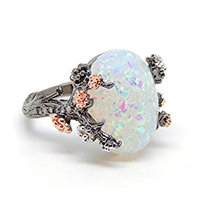 Ginger Lyne Collection Henrietta Tree Branch Elven Fairy Flower Simulated Fire Opal Ring Engagement Ring for Women…