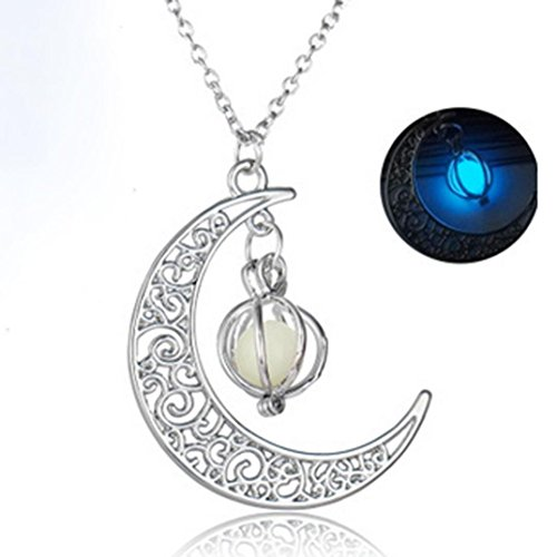 Nmch Moon&Pumpkin Pendant Necklace Silver Glow In The Dark Luminous Necklaces Plated Gift by (Bule)]()