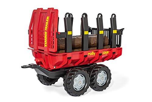 rolly toys RollyTimber 123254 Trailer for Children from 3 to 10 Years with Plastic Wooden Trunks / Tilting Function / Red / Black