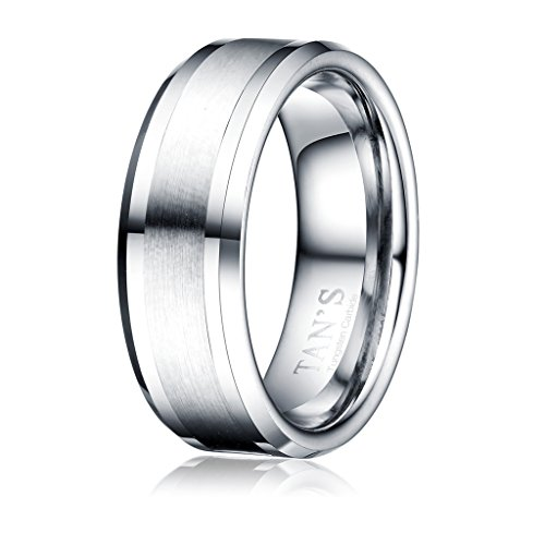 TAN'S 8mm Men's Tungsten Carbide Ring Wedding Band in Comfort Fit Brushed Matte Finish/Beveled Polished Edge by Tan's