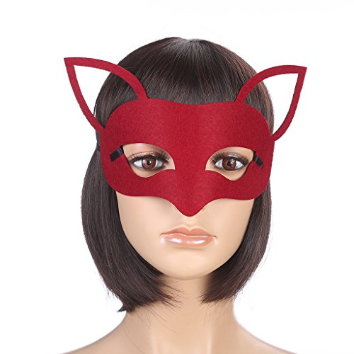 Vpang Elegant Mysterious Red Fox/Deer Mask Party Mask for Halloween Masquerade Ball Mardi Gras Christmas Easter Cosplay Party -