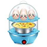 Egg Steamer 14 Egg Double-Layer Lazy Egg Steamer Large-Capacity Electric Boiled Egg Multifunction, Boiled Egg, Heated Milk, Heating, Etc. With Automatic Shutdown Function。 (Bule)