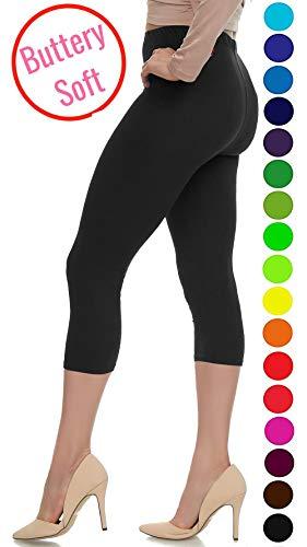 - Lush Moda Extra Soft Capri Leggings - Variety of Colors - Black  One Size fits Most (XS - XL)