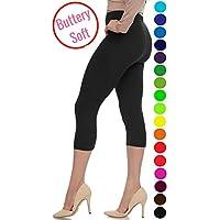 LMB Women's Soft Capri Leggings High Waist Style Stretch 40+ Colors