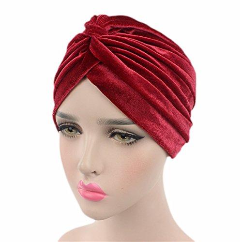 Qhome Luxury Soft Velvet Turban Velour Hair Cover Headwrap Hijab Hat -