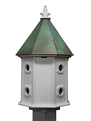 NC Birdguy Two-story Birdhouse Verdigris Patina Copper Roof Made In the USA (H14V) ()