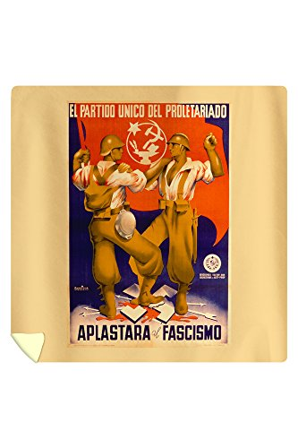 l Partido Unico del Proletariado - Aplastara al FascismoPoster (artist: Parrilla) Spain c. 1937 (88x88 Queen Microfiber Duvet Cover) by Lantern Press