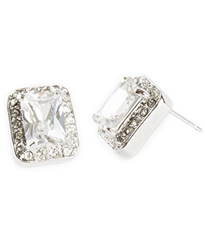 - Simple Everyday Glam Rectangle Pave Crystal Rhinestones Studs Earrings