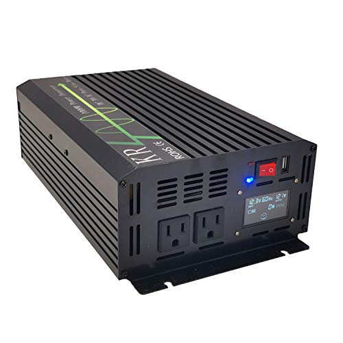KRXNY 1000W Pure Sine Wave Power Inverter 12V DC to 110V 120V AC 60HZ with USB Port for Car/RV Home Solar System