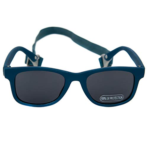 Baby Solo Babyfarer Baby Sunglasses Safe, Soft, Adjustable and Adorable 0-24 Months (0-24 months, Matte Midnight Blue Frame w/Solid Black ()