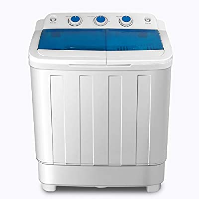 Portable Washing Machine, KUPPET 17lbs Compact Twin Tub Washer and Spin Dryer Combo for Apartment, Dorms, RVs, Camping and More, White&Blue (Type1)