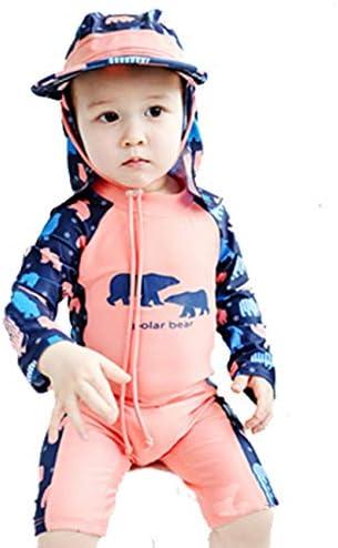 [FUPUSUN] ラッシュガード キッズ 幼児 長袖 プール 海水浴 デビュー (ピンク×ブルーベア, 90cm)