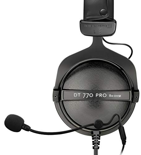 Beyerdynamic DT 770 PRO 80-Ohm Closed Back Studio Mixing Headphones Bundle with Antlion Audio ModMic 4 with Mute Switch and Blucoil Y Splitter for Audio, Mic