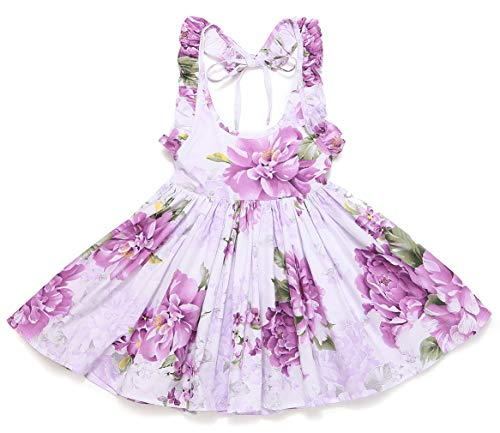 Flofallzique Flower Girls Dress Baby Floral Sundress Holiday Party Backless Toddler Clothes