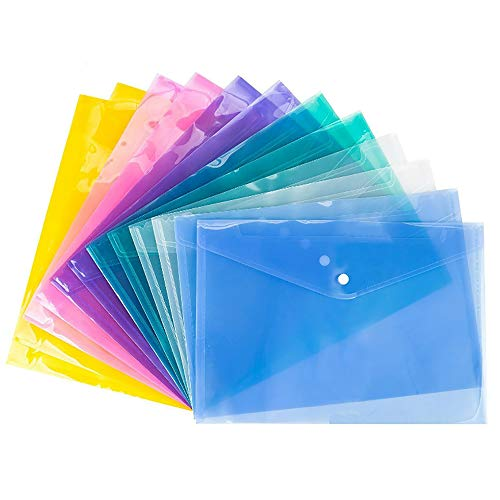 - VANRA Poly Envelope File Folder Pockets File Jacket Transparent Project Document Letter Organizer with Snap Button Closure A4 Letter Size (Pack of 12, 6 Assorted Colors)