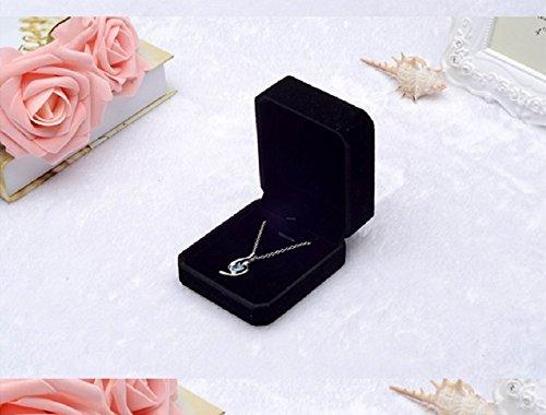 HG-X Black Color Velvet Necklace Pendant Gift Box/Jewelry Boxg Earring Pendant & Outer Box (L-Black) ()