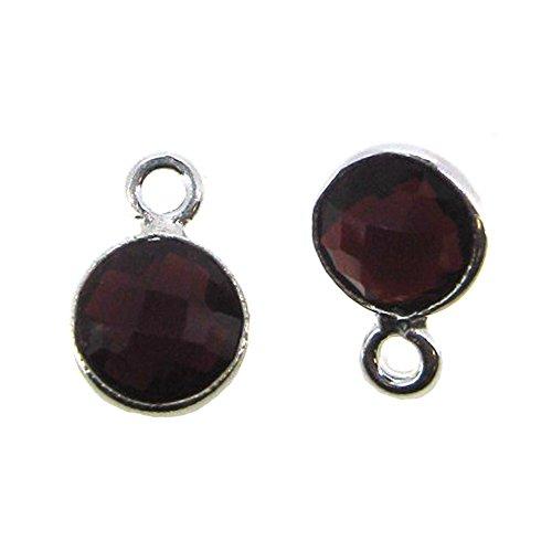 (Bezel Gemstone Pendant - Tiny Circle Shape - 7mm - Sterling Silver Bezel Gem (2 pcs) (Garnet))