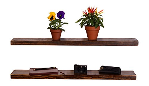 DAKODA LOVE Weathered Edge Floating Shelves, USA Handmade, Clear Coat Finish, 100% Countersunk Hidden Floating Shelf Brackets, Beautiful Grain Pine Wood Rustic Wall Decor (Set of 2) (36