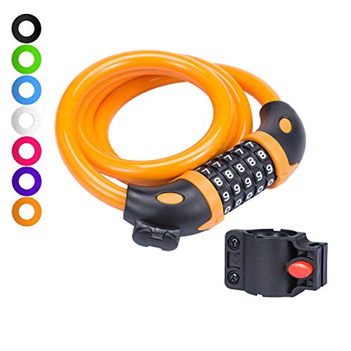 Willceal Bike Lock Bicycle Chain Lock,with 5-Digit Resettable Number and Mounting Bracket,Combination Coiling Cable Lock Best for Bicycle Outdoors - 4 Feet x 1/2 Inch (Orange)
