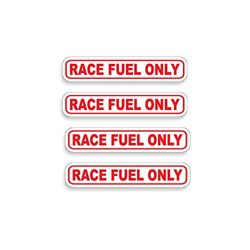 RACE FUEL ONLY Sticker Set of 4 Die Cut Vinyl Decal label for Gas Tank Door Container - Decal Race Drag