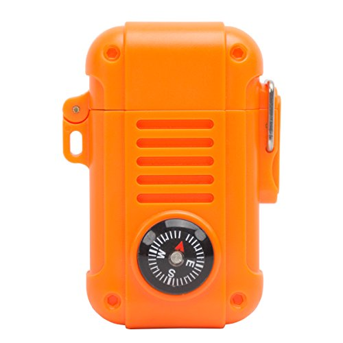 (UST Wayfinder Lighter, Orange, with Piezo-Electric Ignition and Built-In Compass for Backpacking, Hunting and)