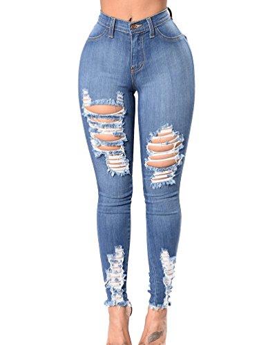 claro Casual Denim Alta Pantalones Skinny Pantalones Delgado Rotos Cintura Lápiz Dooxi Azul Mujer Tejanos Vaqueros x6wqHpF