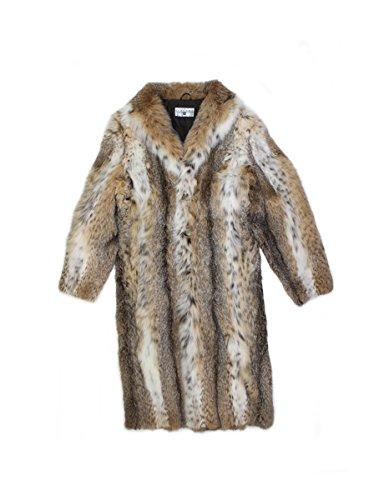(715780 New Mens Natural Lynx Fur Full Length Coat Stroller Jacket 44 )