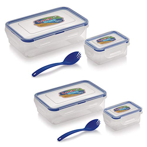 SKI Plastic Lock N Seal Lunch Box, 800ml and 550ml  Transparent    Pack of 2