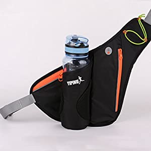 YIPINU Running Waist Bag Water Resistant Waist Pack with Water Bottle (Not Included) Holder Man Women Sports Travel Hiking Cycling Camping / Money/Iphone Samsung (Black)