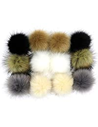 Dr Nezix DIY 12pcs Mix Colors Pompom Ball Faux Fox Fur Fluffy Pom Pom Ball for Hats Shoes Scarves Bag Charms Accessories (E)