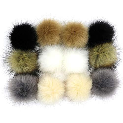 Dr Nezix DIY 12pcs Mix Colors Pompom Ball Faux Fox Fur Fluffy Pom Pom Ball for Hats Shoes Scarves Bag Charms Accessories (E)