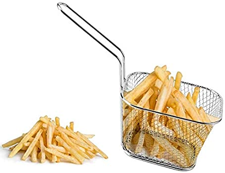 8Pcs Mini Fry Basket Stainless Steel Chips Deep Fry Baskets Cooking Tool for French Fries Chicken Fingers
