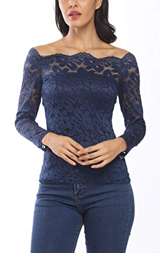 Women Off Shoulder Floral Lace Shirts Twin Set Boat Neck Long Sleeve Summer Sexy Tops Blouse Tee Purple ()